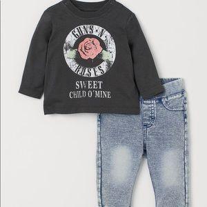 H&M Guns N Roses Shirt and Pants set
